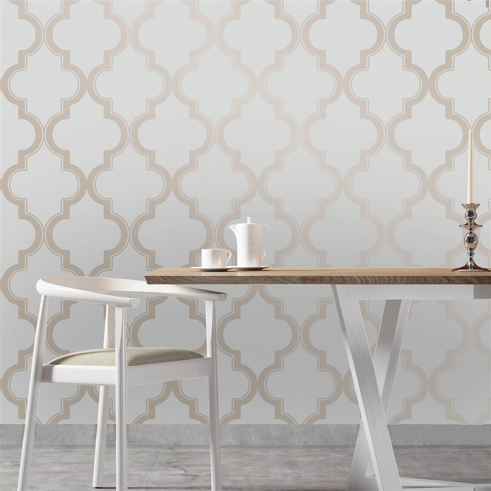 Moroccan trellis global bazaar grey beige removable wallpaper for White self adhesive wallpaper