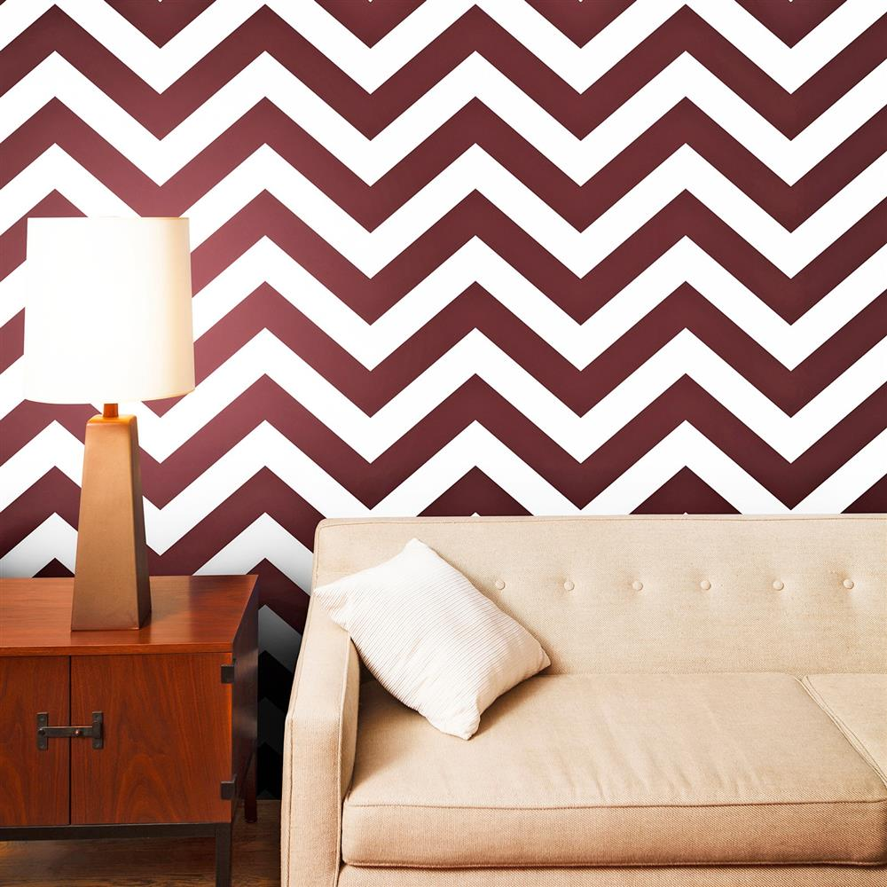 Chevron modern classic cherry red white removable for Temporary wallpaper