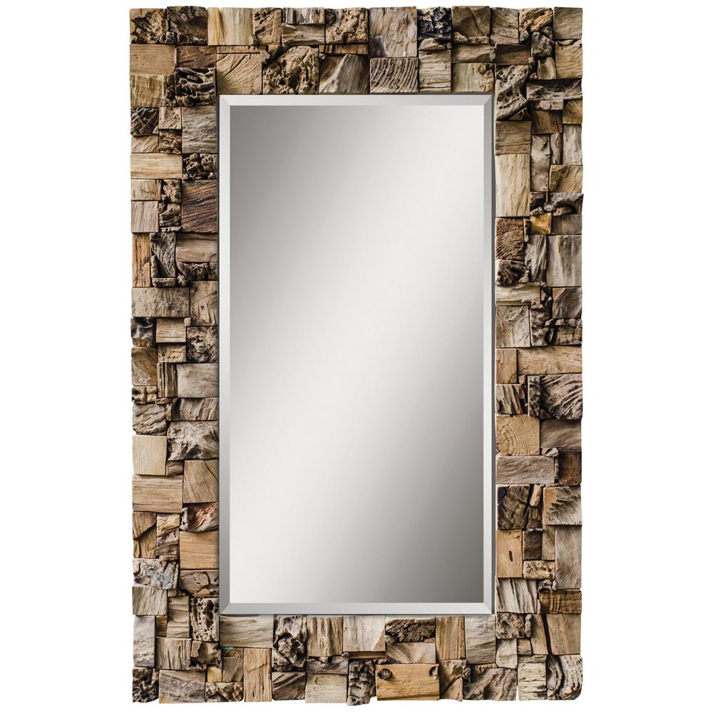 Haslam rustic lodge raw teak wood artisan rectangular for Rustic mirror