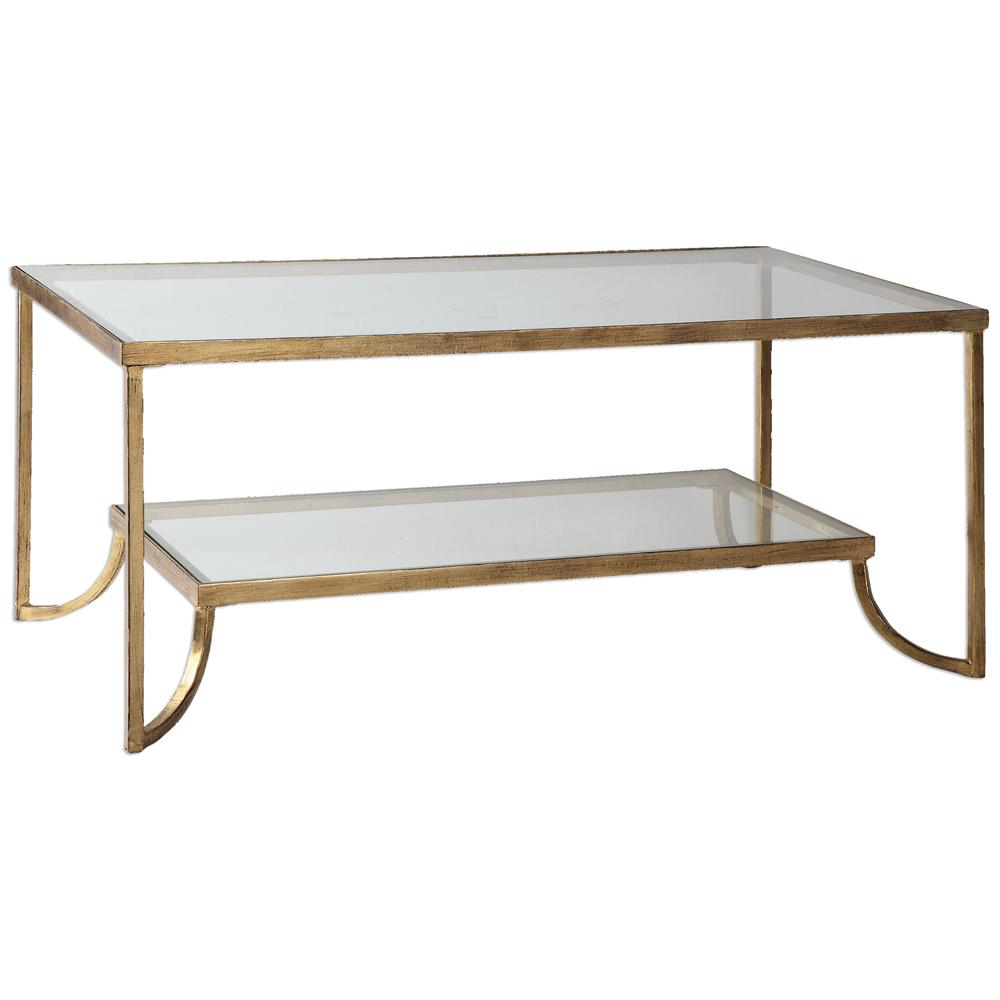 Madox Modern Classic Antique Gold Leaf Glass Coffee Table | Kathy Kuo Home