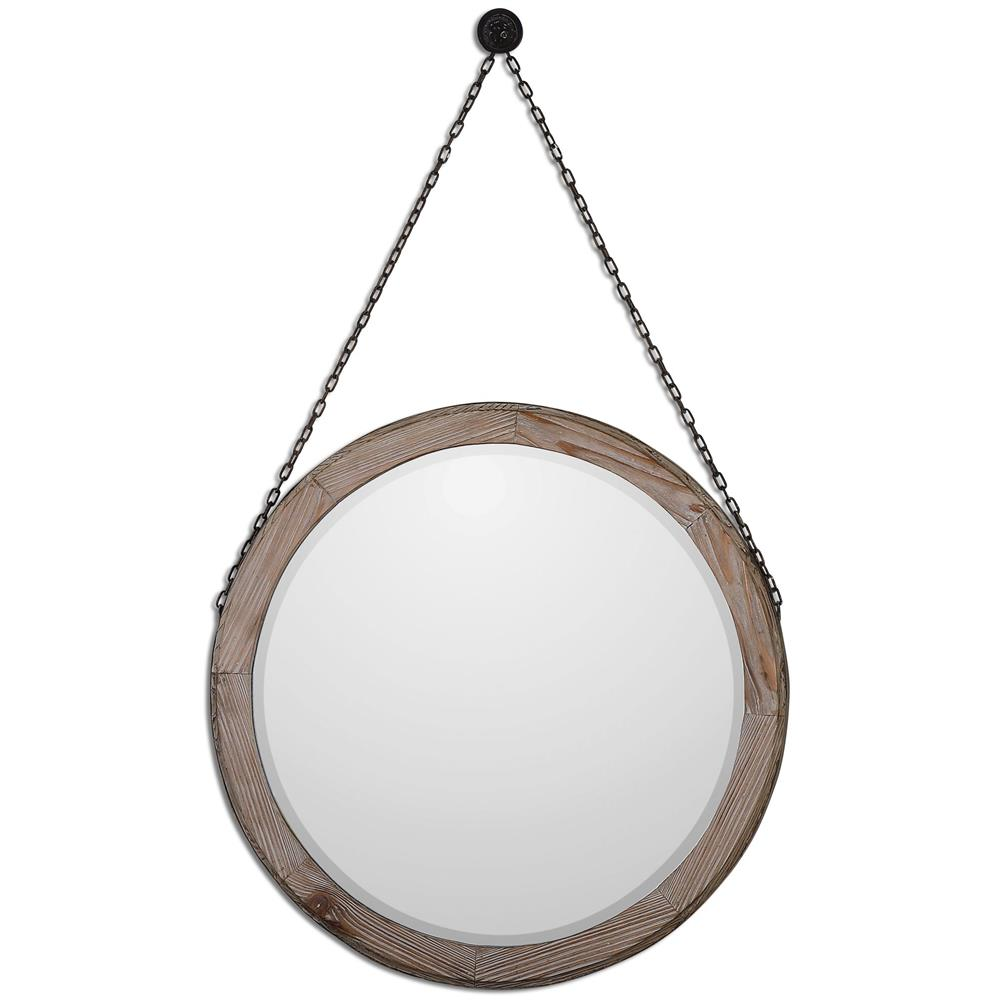 French country bathroom vanity - Colte Rustic Lodge Bronze Chain Hanging Round Fir Wall Mirror Kathy
