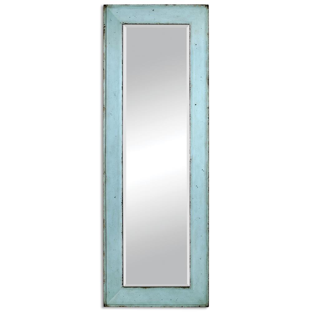 Skip coastal beach rustic teal rectangle wood wall mirror for Teal framed mirror