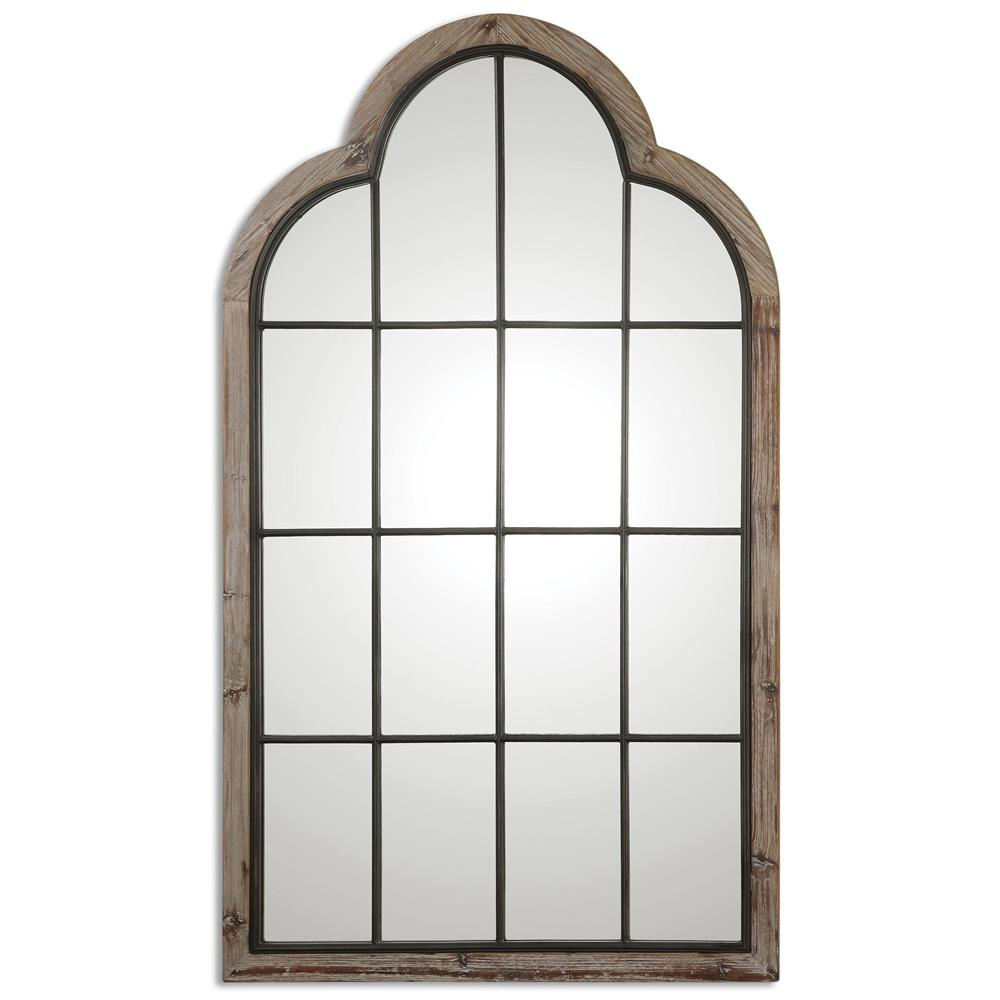 Gavin Rustic Lodge Iron Pane Arch Floor Mirror Kathy Kuo