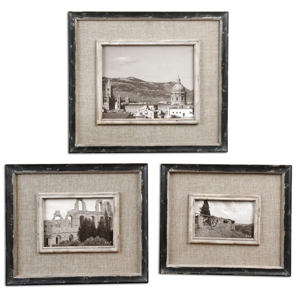 Ashe Rustic Lodge Black Burlap Wood Photo Frames - Set of 3