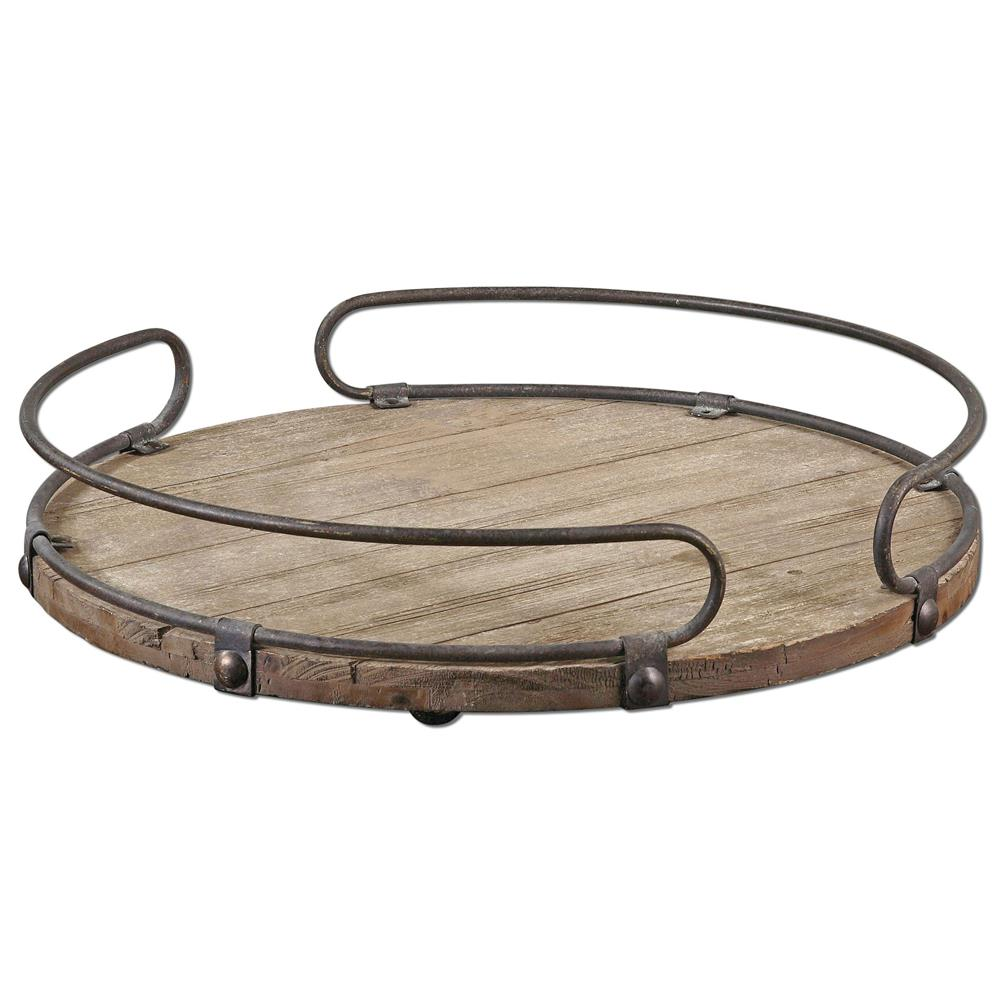 Osceola Rustic Lodge Iron Fir Wood Round Tray Kathy Kuo Home