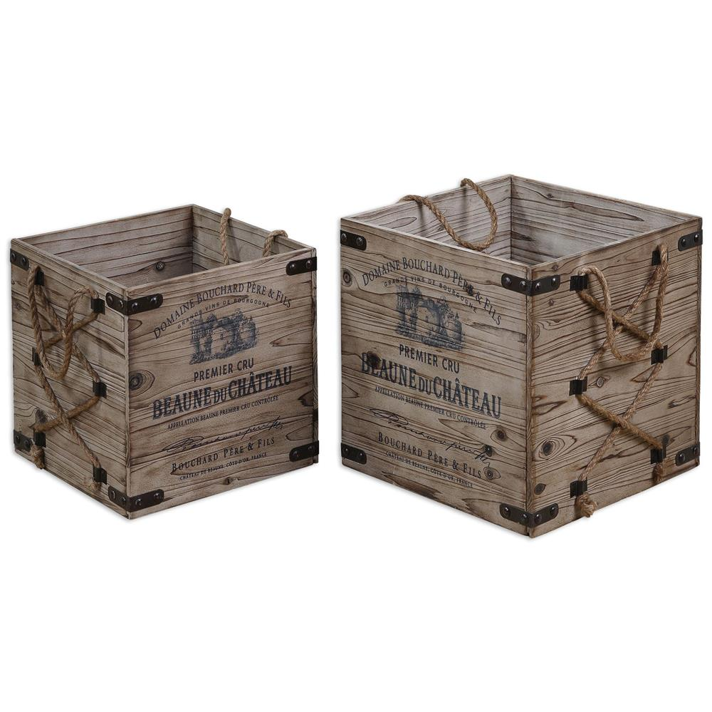 Pere french country rustic rope wine crates set of 2 What to do with wine crates