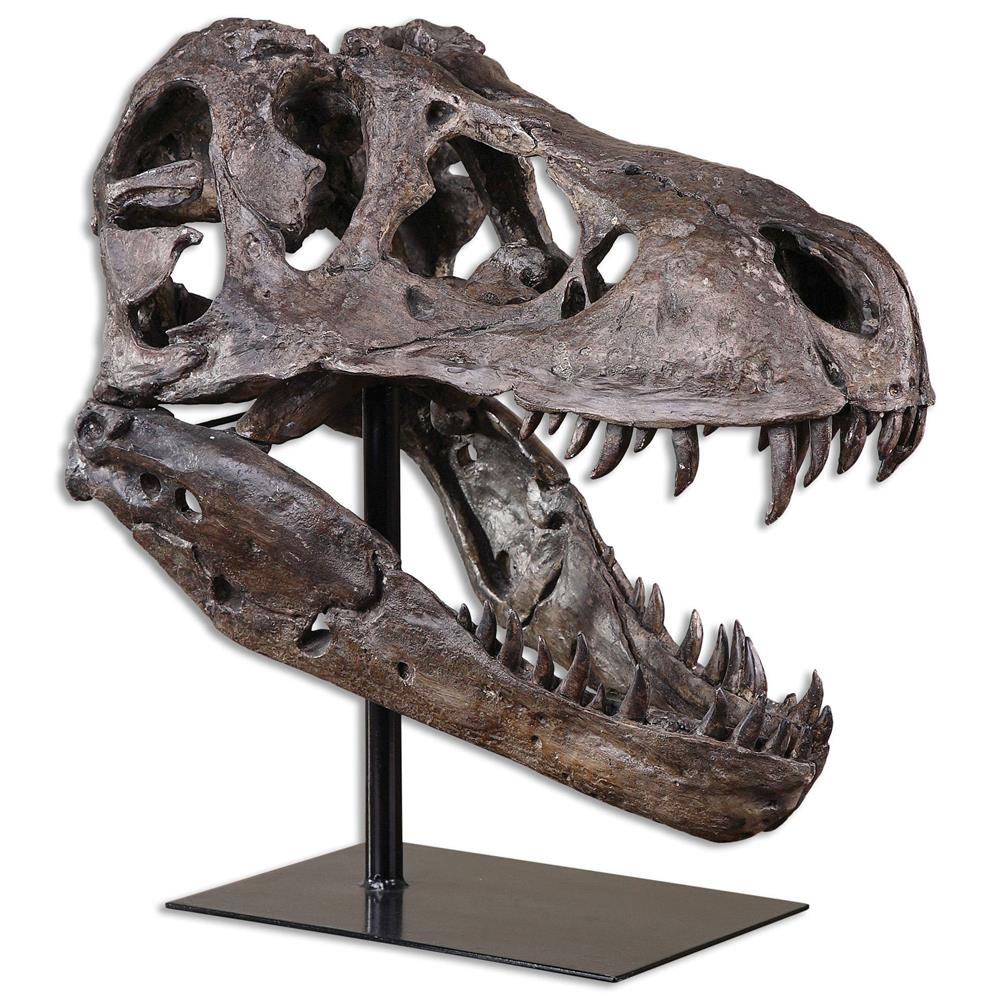 Sue Global Bazaar Brown Metal Tyrannosaurus Skull Sculpture