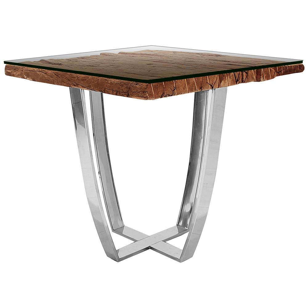 Buck rustic lodge reclaimed wood glass steel side end for Glass end tables