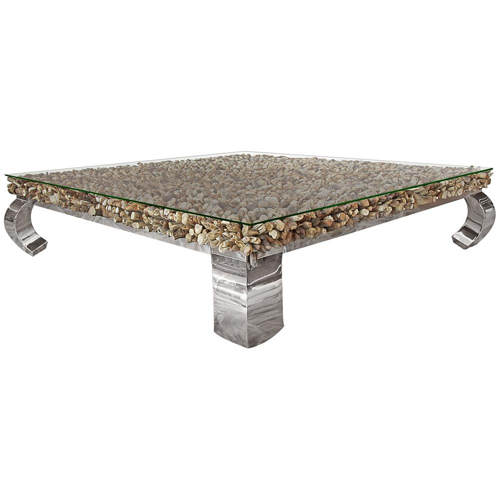 Bradford Rustic Lodge Driftwood Glass Steel Coffee Table 59 Inch Kathy Kuo Home