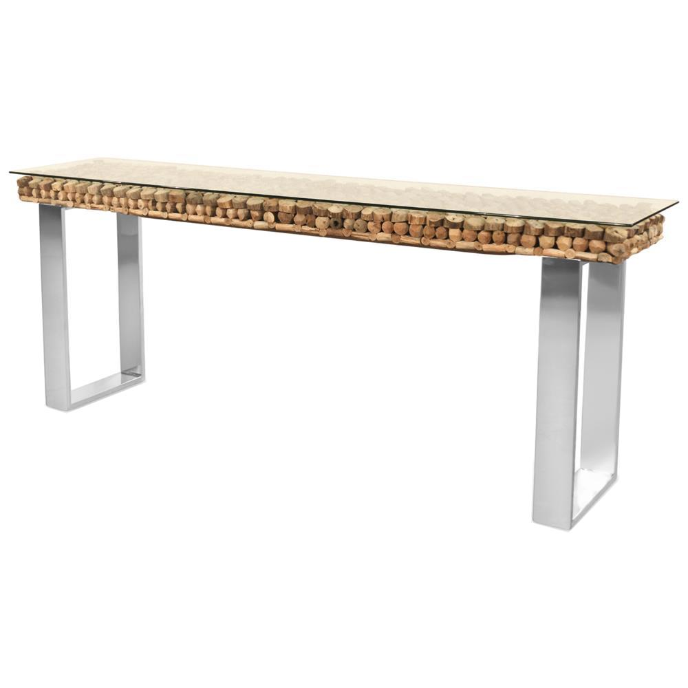 Bradford Rustic Lodge Driftwood Glass Steel Base Console Table