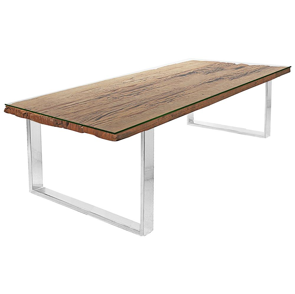 Buck Rustic Lodge Reclaimed Wood Glass Steel Dining Table  : product11771 from www.kathykuohome.com size 1000 x 999 jpeg 60kB