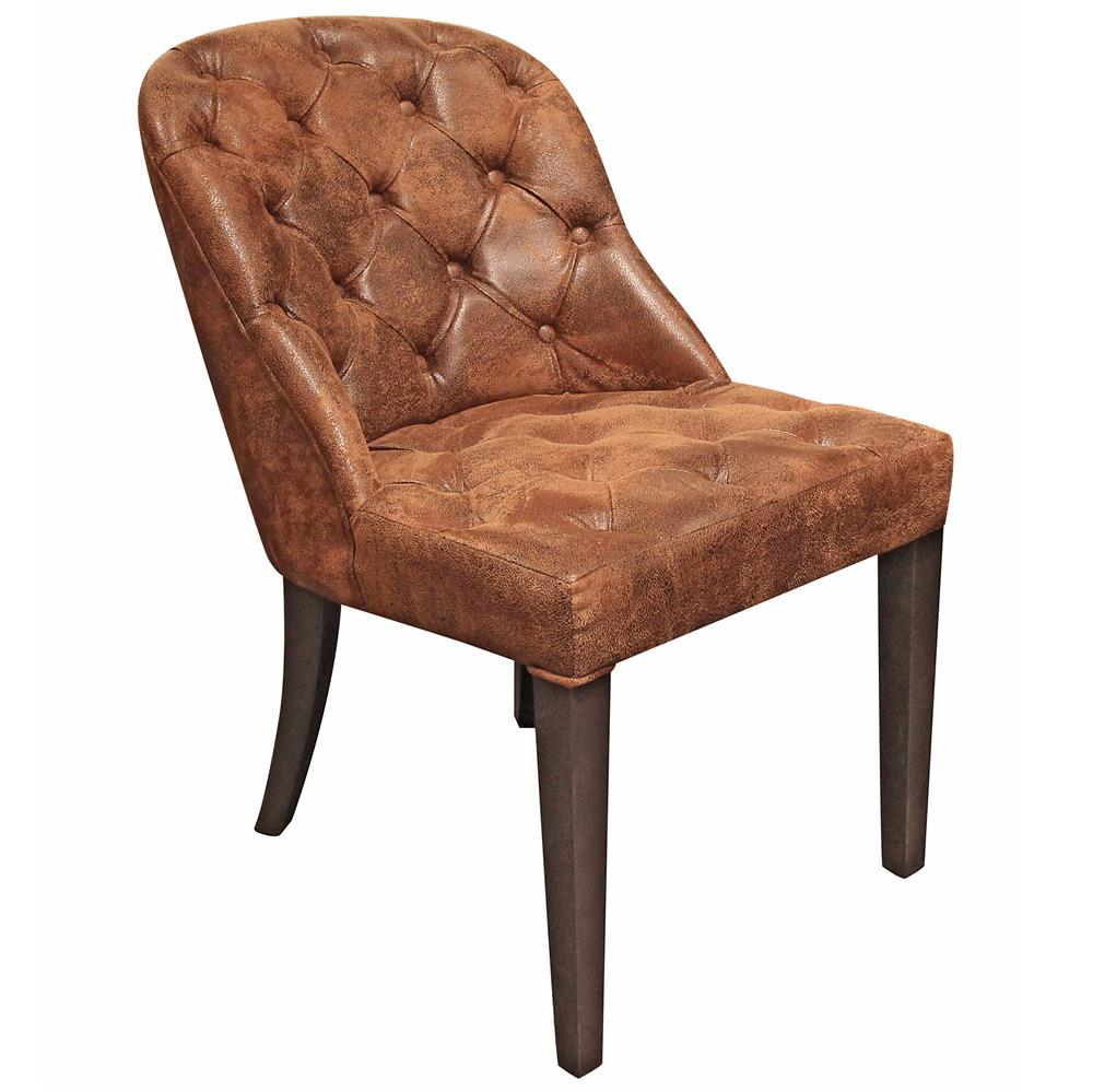 Angier Rustic Lodge Tufted Amber Brown Leather Dining Side