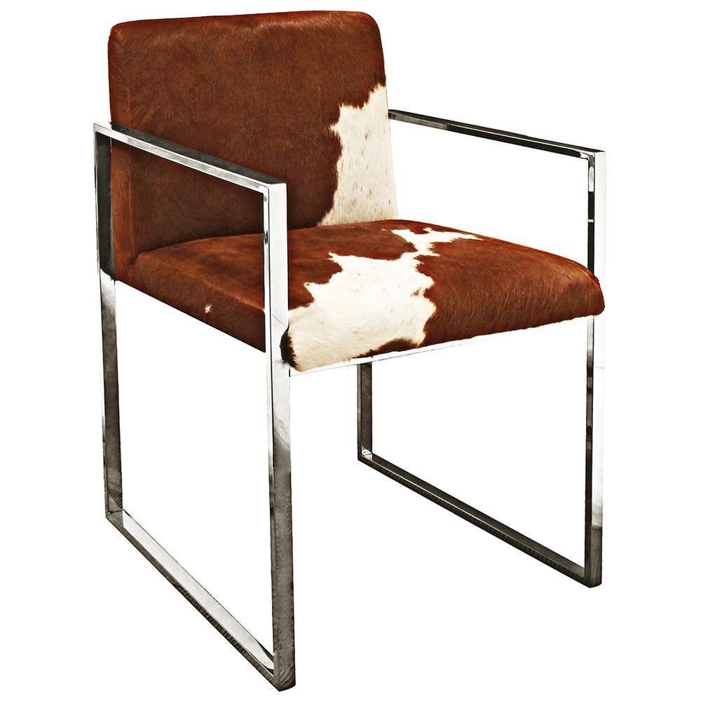 Arama Rustic Lodge Brown White Cowhide Steel Dining Armchair
