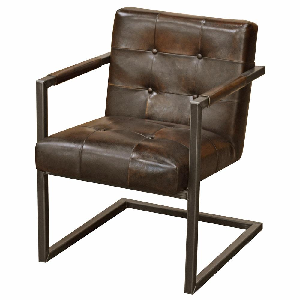 Townsend industrial loft tufted dark brown leather dining for Tufted leather dining room chairs