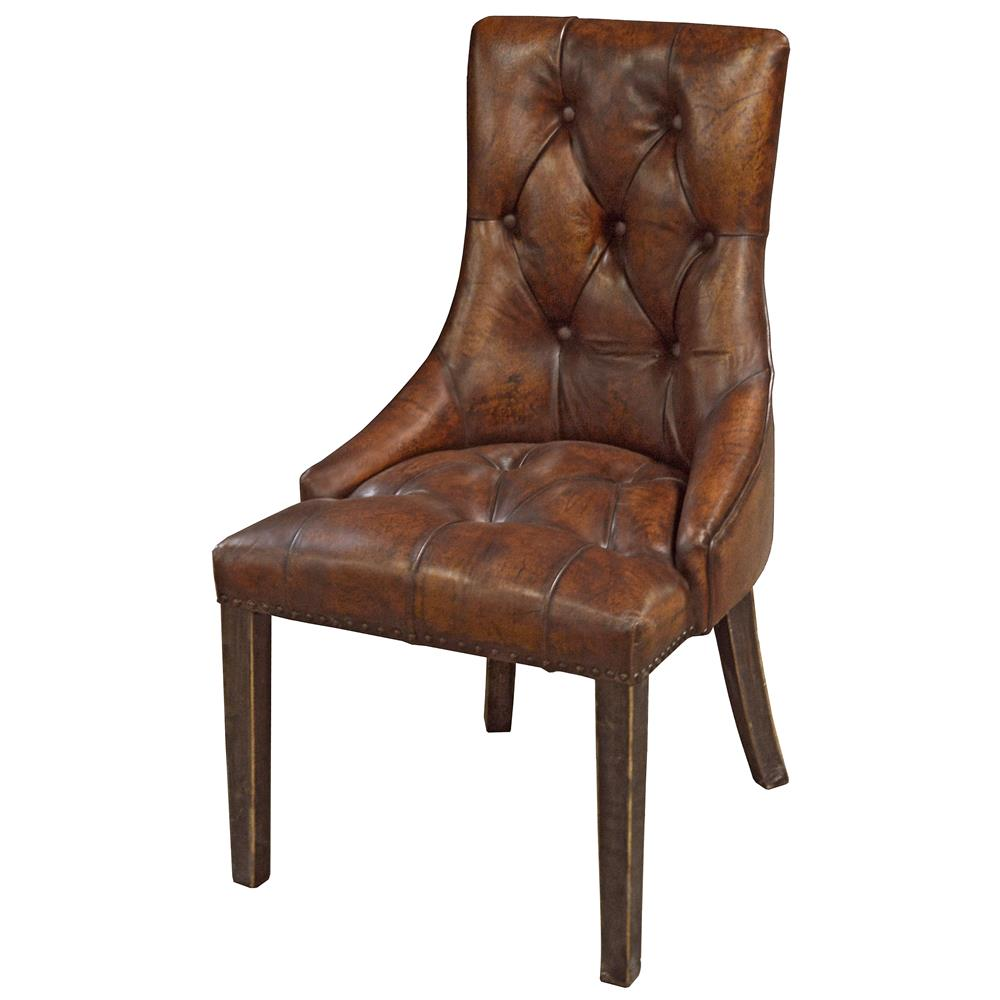Anneau rustic lodge tufted vintage brown leather dining for Tufted leather dining room chairs