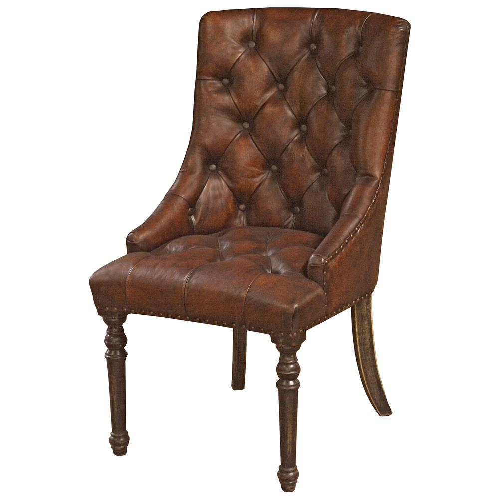 Boyce rustic lodge tufted vintage brown leather wood for Tufted leather dining room chairs