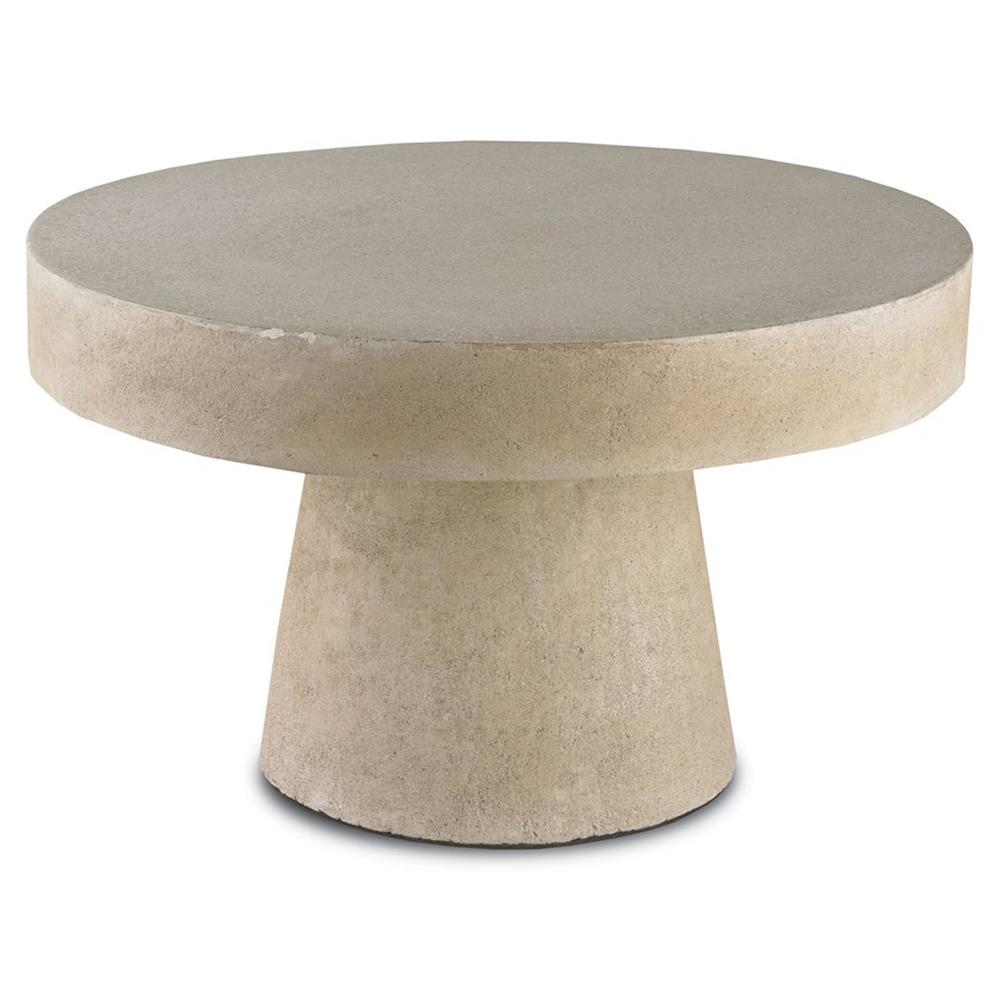 Hiram Industrial Loft Polished Stone Round Coffee Table Kathy Kuo Home