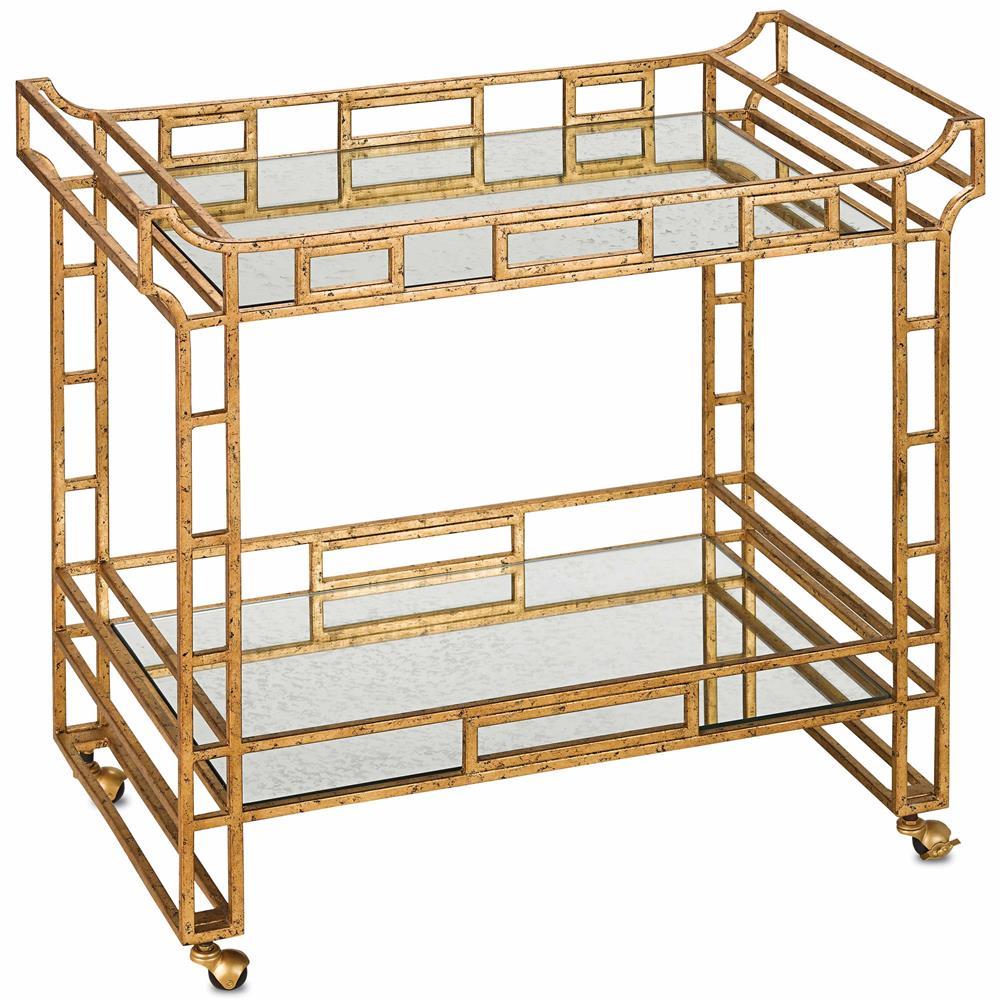 Tamara Hollywood Regency Antique Gold Mirror Bar Cart