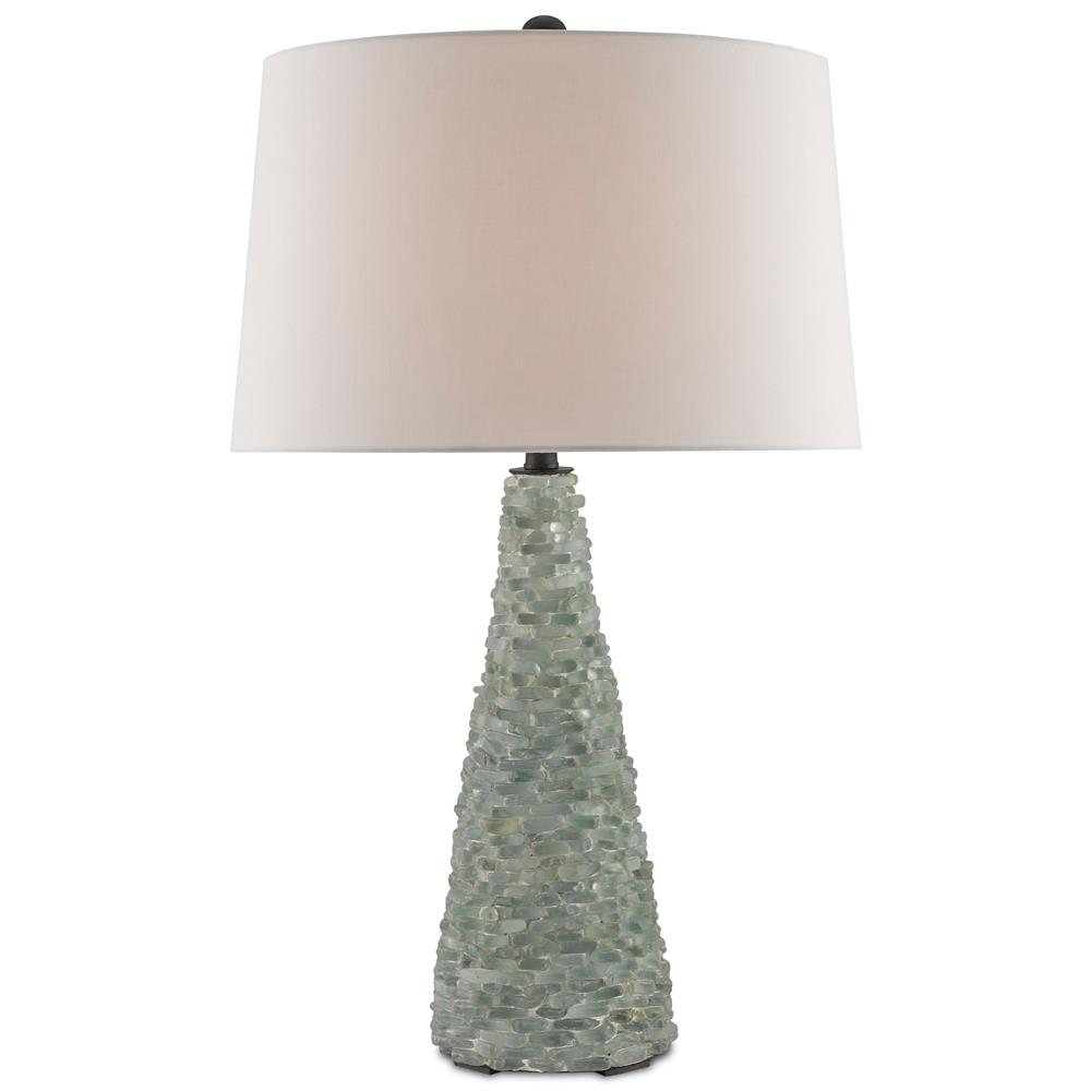 Sea Lamps: Benicia Coastal Beach Sea Glass Mosaic Table Lamp