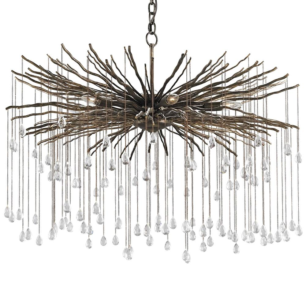 Bonham global bazaar iron twig crystal rain chandelier for Lights company