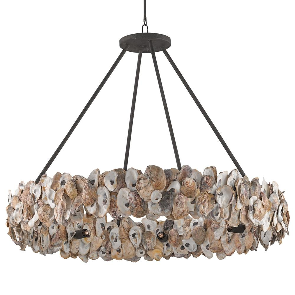 Oyster shell coastal beach ring chandelier kathy kuo home mozeypictures Images