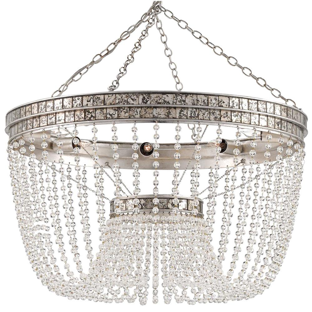 Garbo Hollywood Regency Antique Silver Leaf Crystal Bead Chandelier - Chandelier leaves crystals