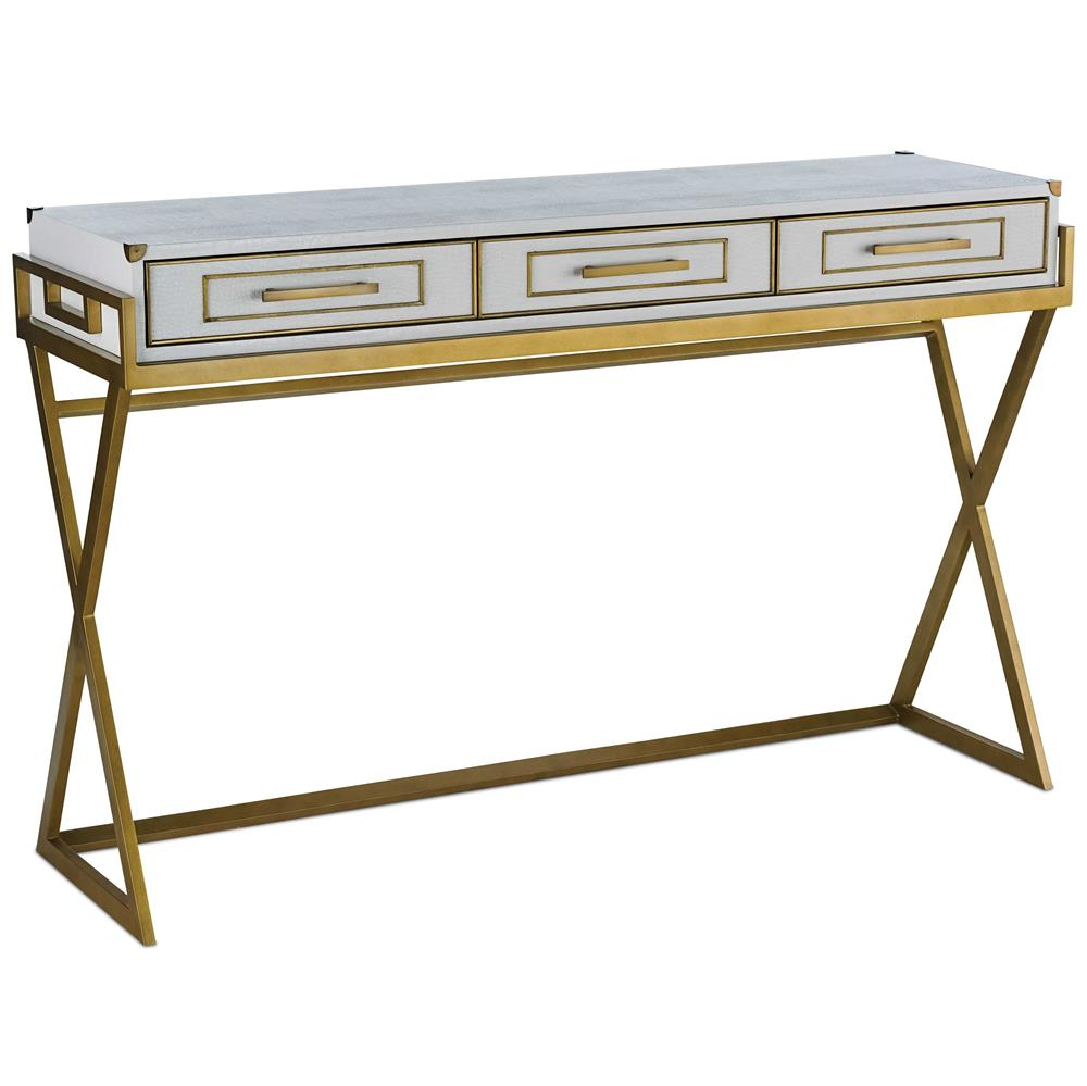 hannah hollywood regency faux white crocodile gold console table kathy kuo home