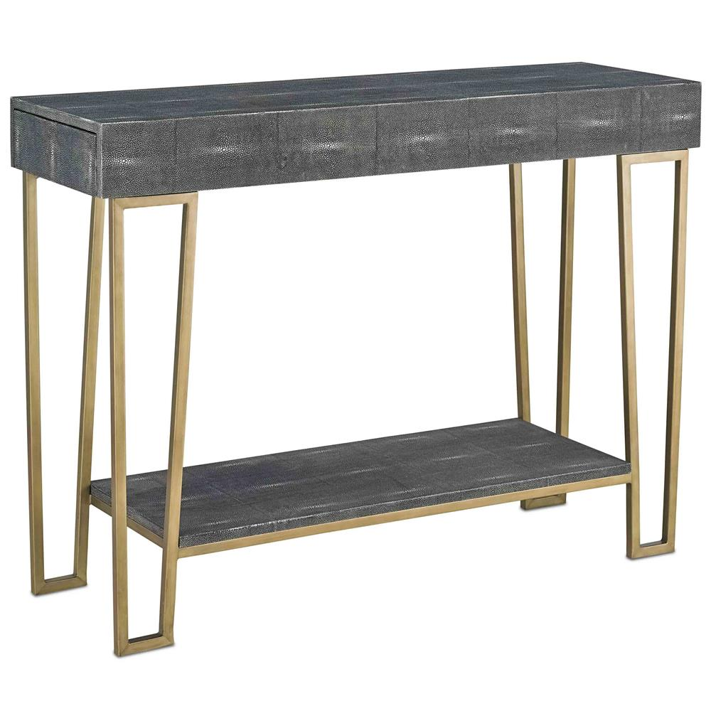 Gena Hollywood Regency Charcoal Faux Shagreen Gold Console