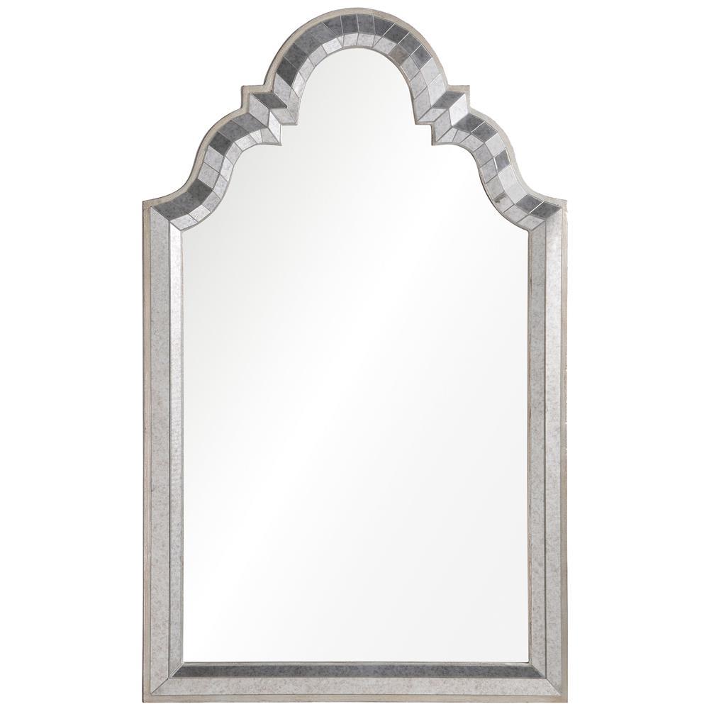 Leigh Hollywood Regency Antiqued Silver Leaf Frame Arch Mirror