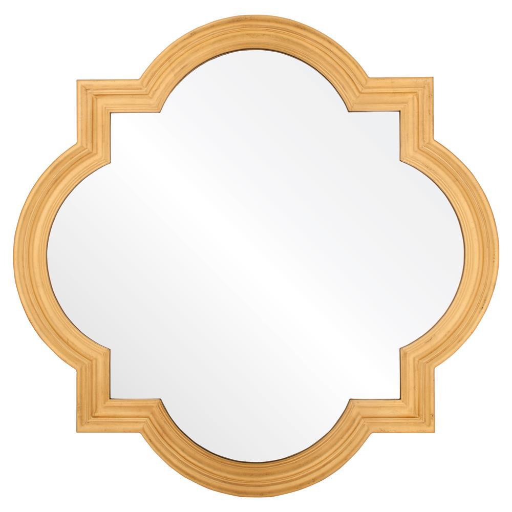 grove hollywood regency antique gold leaf quatrefoil mirror
