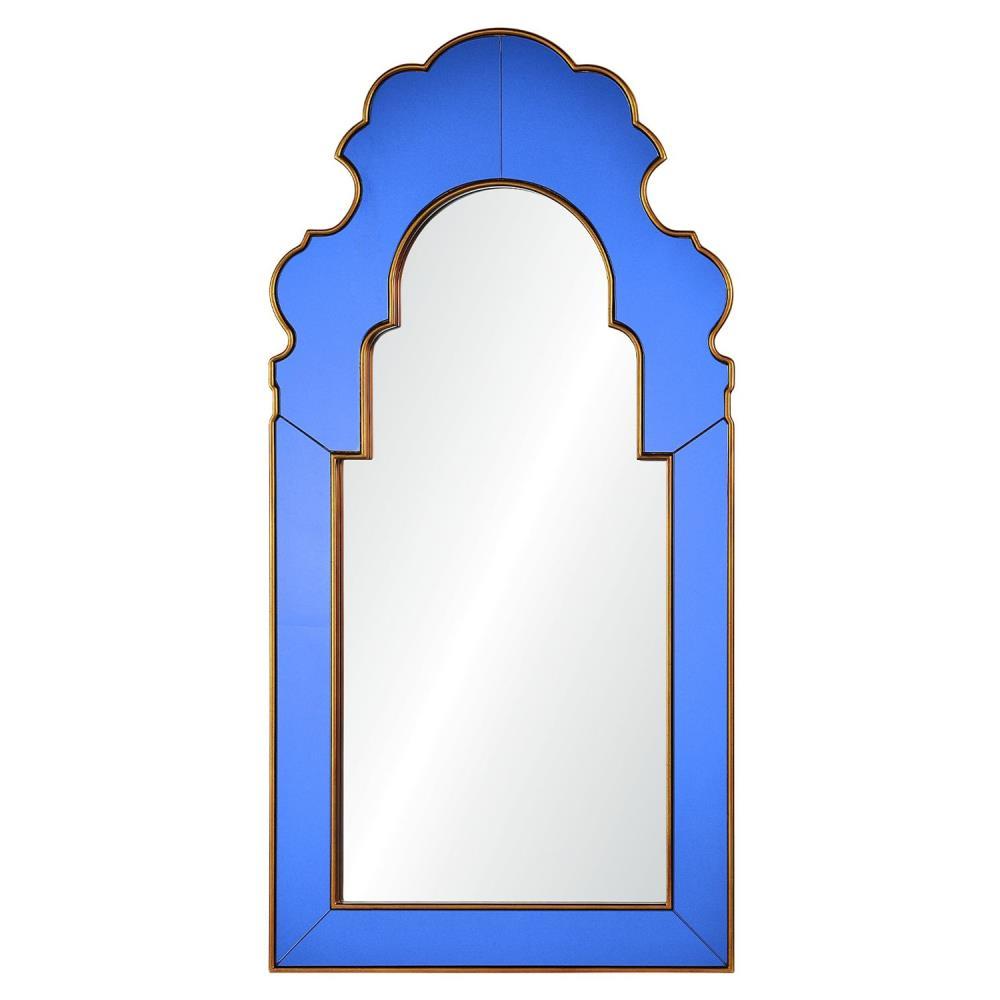 Roxy Hollywood Regency Blue Glass Frame Gold Trim Arch Mirror