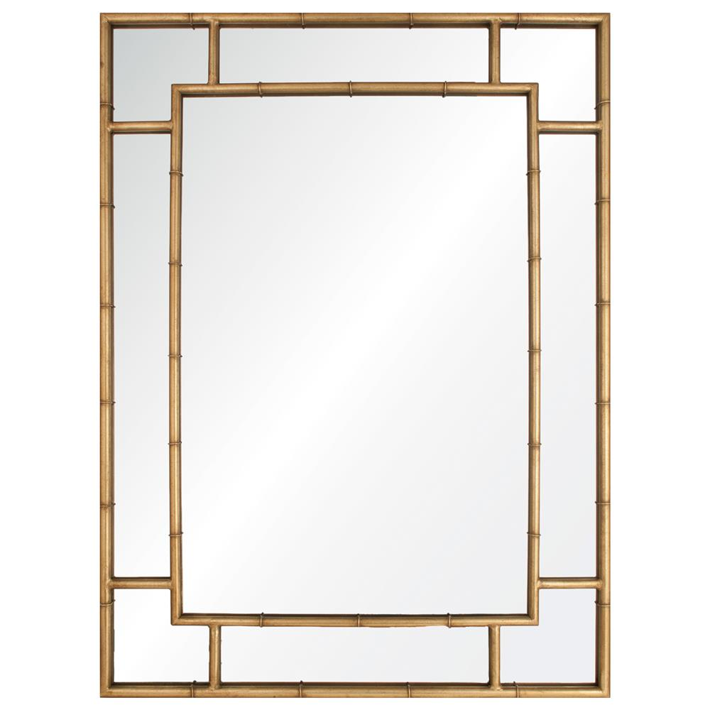 Gable regency distressed gold leaf iron bamboo mirror kathy kuo home