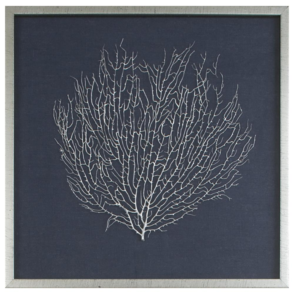Bandon Coastal Beach Navy Linen Antique Silver Leaf Sea
