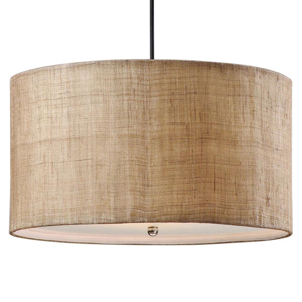 Emelia rustic lodge burlap drum 3 light pendant kathy for Burlap lights