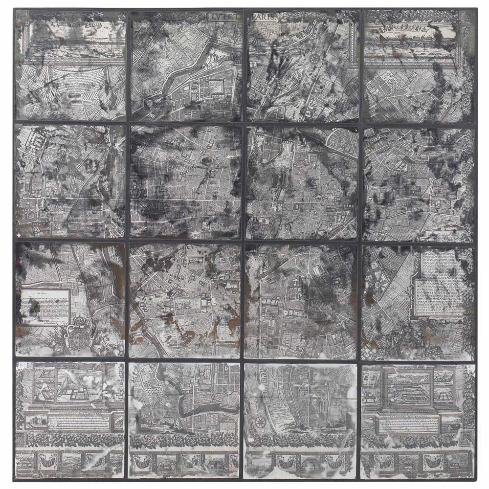 Kase Industrial Loft Dark Antique Mirror Parisian Map Wall Art