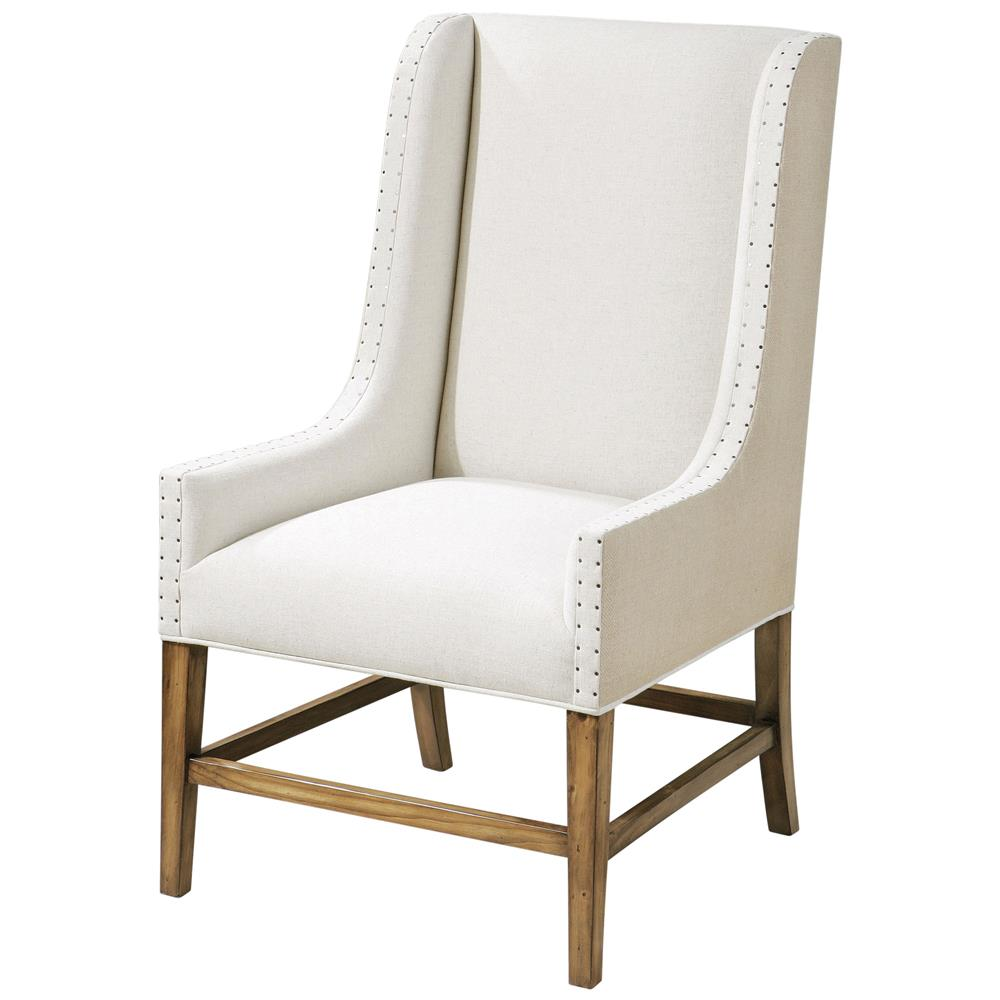 Rylee Coastal Beach Linen Burlap Wing Chair Kathy Kuo Home
