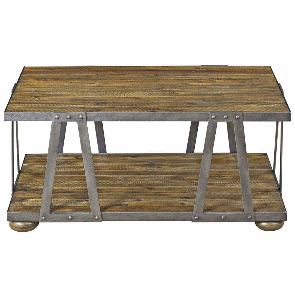Ida rustic lodge acacia wood metal coffee table kathy kuo home Rustic wood and metal coffee table