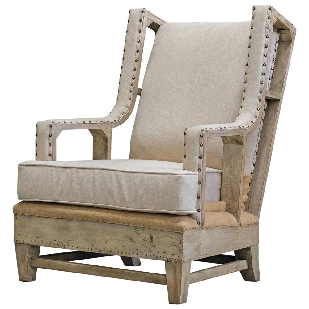 Trey Coastal Beach Linen Burlap Distressed Rustic Arm Chair