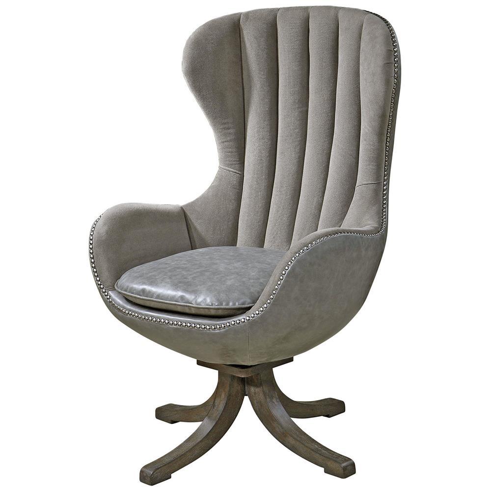 davion industrial grey velvet mid century swivel egg chair kathy kuo home. Black Bedroom Furniture Sets. Home Design Ideas