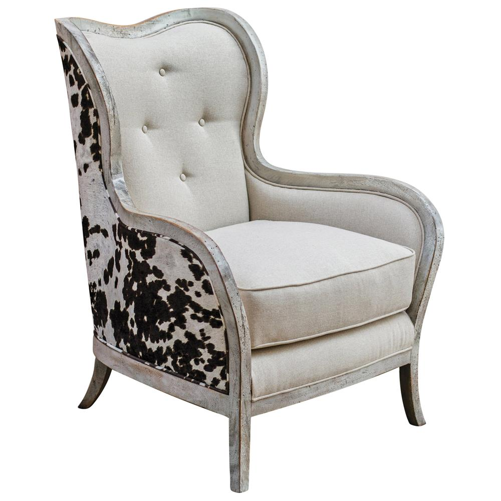Genial Kendra Rustic Lodge Faux Cow Hide Velvet Linen Wing Chair | Kathy Kuo Home