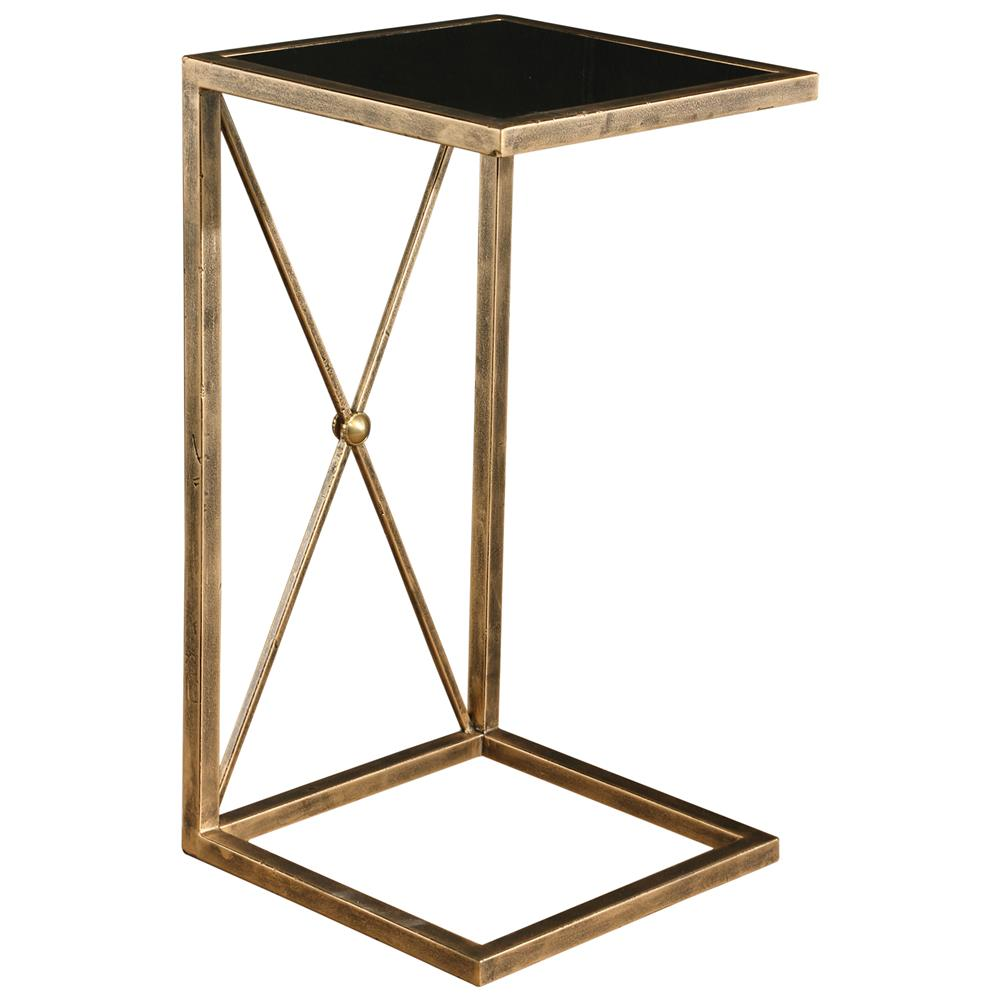 Lexington modern classic antique gold black glass side for Glass end tables
