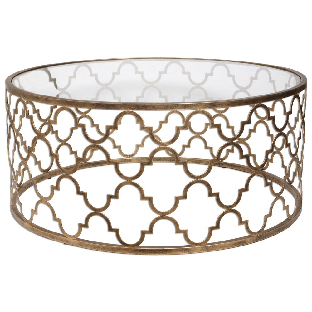 Lamarr Global Bazaar Gold Quatrefoil Iron Coffee Table Kathy Kuo Home