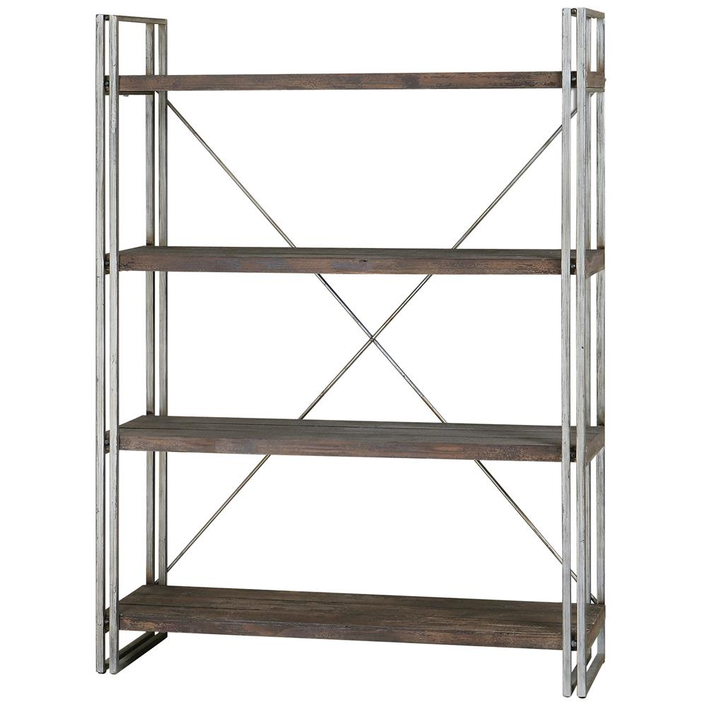 brixton industrial loft 4 tier metal wood etagere kathy. Black Bedroom Furniture Sets. Home Design Ideas