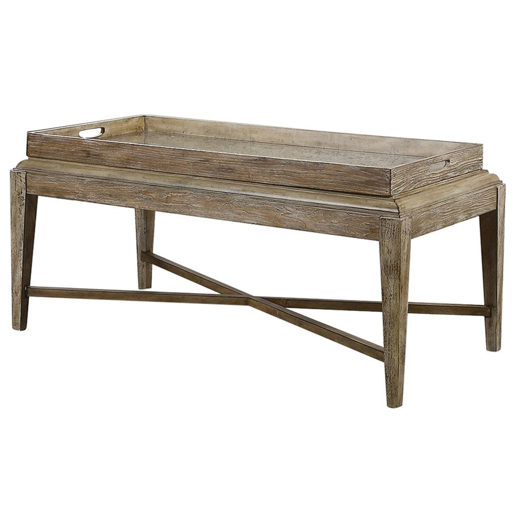Moore rustic lodge antique mirror tray wood coffee table kathy kuo home Home furniture coffee tables