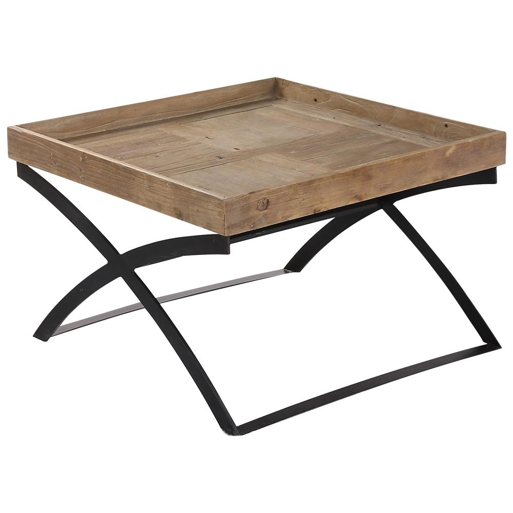 Senex rustic lodge reclaimed elm iron x frame coffee table for X coffee tables