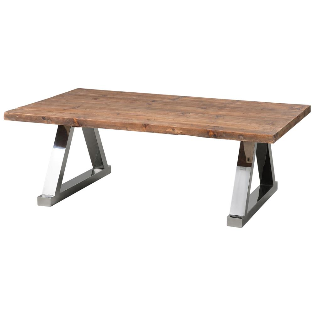 Stapleton rustic lodge reclaimed fir steel frame coffee for Reclaimed coffee table