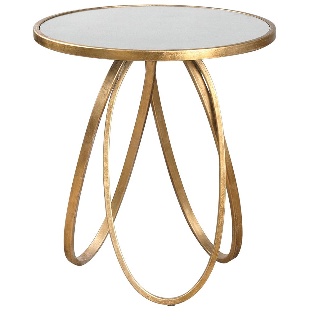Tiff Hollywood Regency Antique Mirror Gold Oval Ring End Table