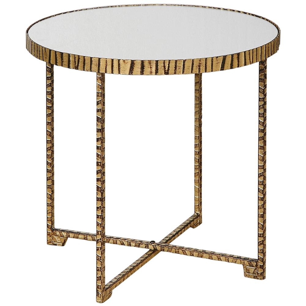 Black Side Table ~ Nairobi hollywood regency mirrored black gold side table