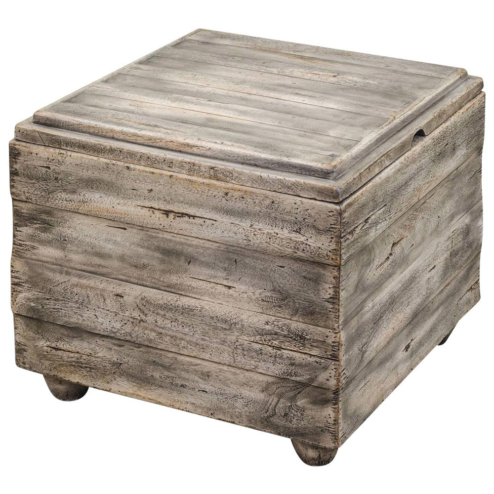 Waco rustic lodge wood cube end table kathy kuo home for Rustic wood accent tables
