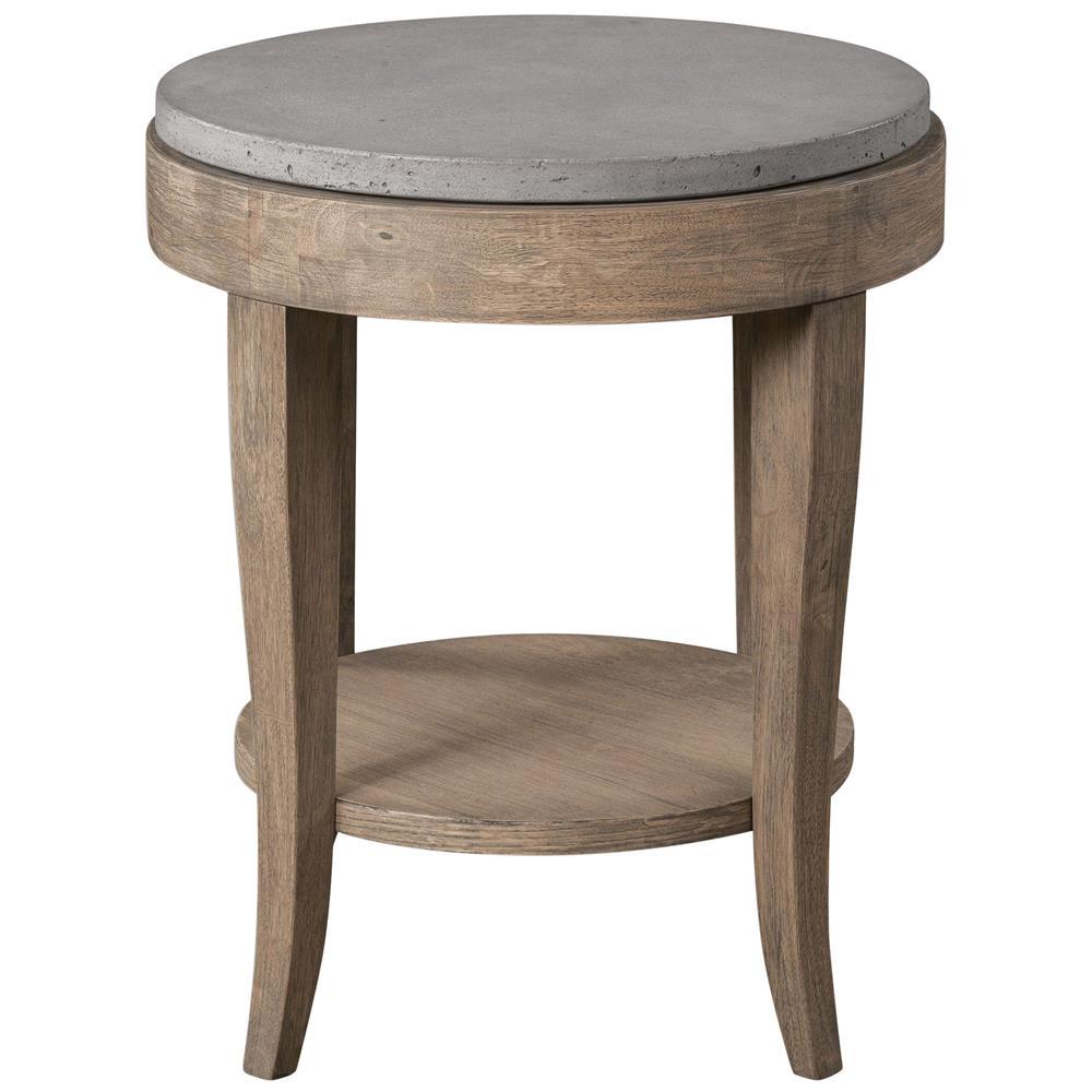 Scout Industrial Loft Round Concrete Fir Accent Table